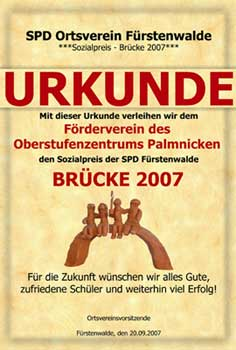 Brücke Urkunde 2007